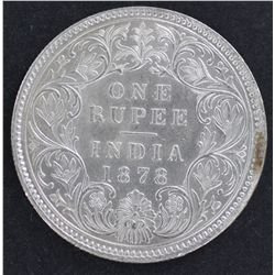 India 1 Rupee 1878 Nearly UNC