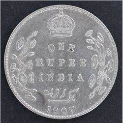 India 1 Rupee 1907 Nearly UNC