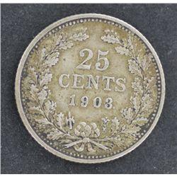 Netherlands 25c 1903 VF