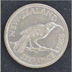 New Zealand 1933 Sixpence UNC
