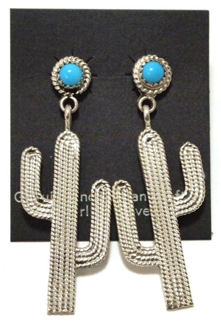 dbe75a119 Image 1 : Navajo Turquoise Sterling Silver Cactus Post Earrings - Running  Bear ...