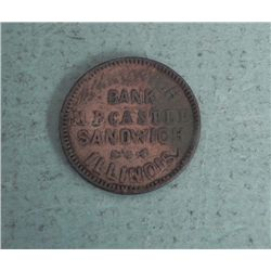 Civil War Store Card M.B. Castle Sandwich IL Bank