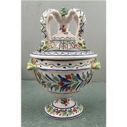 Original Hand Painted Signed Pottery Lidded Urn