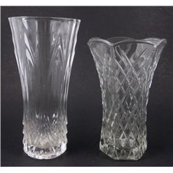 2 Crystal / Elegant Glass Large Flower Vases