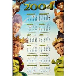 Double Sided 2004 Shrek2 Calender Poster & Sharks Tale