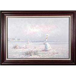 Marie Charlot Original Painting Victorian Beach -Framed