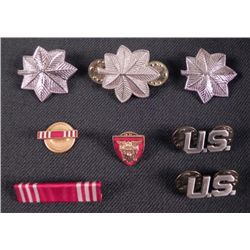 8 WWII ERA ARMY UNIFORM DEVICES, RIBBON BAR & LAPEL PIN