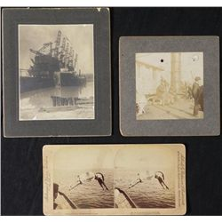 2 Antique Ship Photos & 1 Miss Ward Diver Stereoview