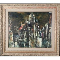 Original Modernist Painting Street Scene -Framed