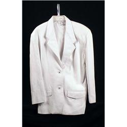 Nancy Heller Ladies White Leather Jacket Size M