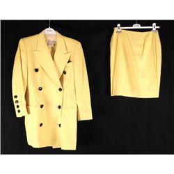 Escada 2 Pc Yellow Ladies Vintage Outfit w/Skirt Sz 40
