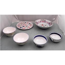 6 Ceramic Bowls, Plate Hand Painted Italy, Greece