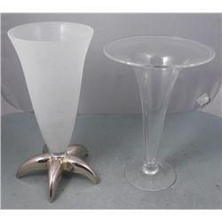 2 Large Decorative Vases Crystal & Frosted Glass