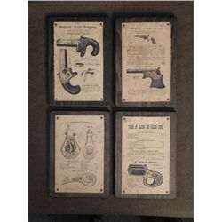 4 Antique Firearms Gun Powder Flask Advertising Plaques
