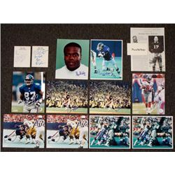 14) Signed New York Giants Photos Cards Paper NFL