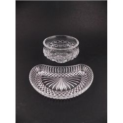 2 Crystal Glass Pieces Round Bowl, Crescent Dish