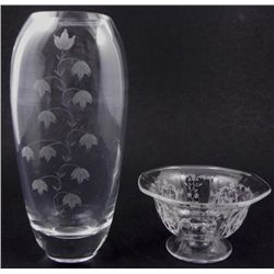 2 Etched Glass Vintage Crystal Vase, Bowl