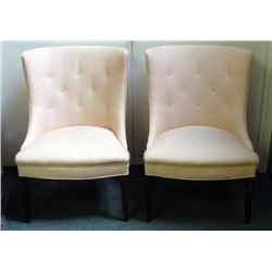 2 Vintage Living Room Chairs Modern Pink Cloth