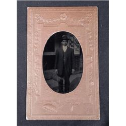 Antique Tintype Photo City Street Man German Beer Sign
