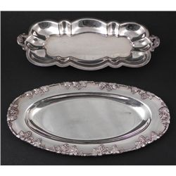 2 Silverplate Small Oval Serving Plates Platters
