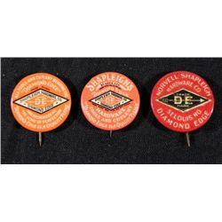 3 Shapleigh Hardware Co. Antique Pinback Buttons 1899