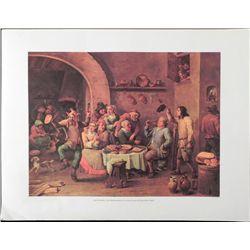 David Teniers The Drinking King Lithograph Art Print