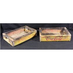 2 Vintage Coca-Cola Coke Bottle Wooden Yellow Crates