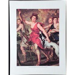 Huntress Diana Lithograph Print Peter Paul Rubens Art