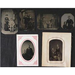 6 Antique Tintype Photos Studio Shots Couples 1890s