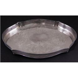 LBS Co Silver Plate Vintage Serving Tray Superfine 2496