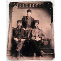 Antique Tintype Photo 3 Men Worker Hats 1/6 Plate