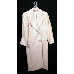 Perry Ellis Ladies Long Cream Color Wool Coat Sz 10