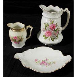 3 Pc Tea Pot Creamer & Bowl Vintage China Old Foley