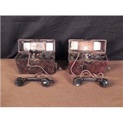 RARE ORIG PAIR1941 NAZI FIELD PHONES-COMPLETE,WAFFENAMT