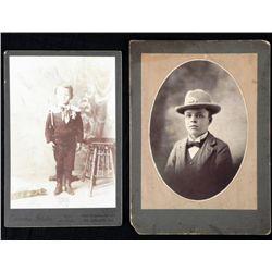 2 Antique Cabinet Card Photos Boys in Uniform, Ranger