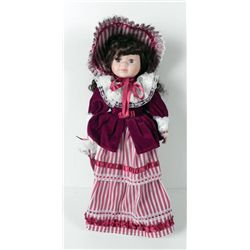 Bisque Girl Doll 19th Cent in Velvet Stripes 18 In.