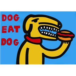 Great MARCO Pop Art DOG EAT DOG BLUE Print on Canvas