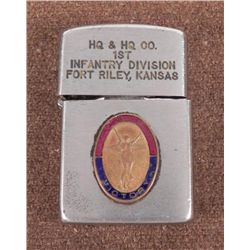 MILITARY LIGHTER-ENGRAVED 1ST INF DIV-FORT RILEY, KS