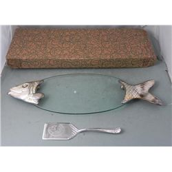 Elegance Silver Glass Fish Tray Plate w/ Server