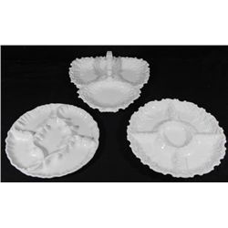 3 Big Vintage White Glass Serving Dishes Lefton, Italy