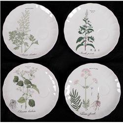 4 Pc Set French Bone China Botantical Tea Plates