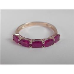 14K Thai Ruby Ring Band of Oval Stones