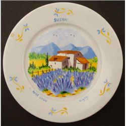 """Hand Painted French Art Plate """"Susan"""" Nice France"""