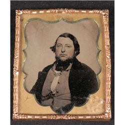 Antique Tintype Photo Heavyset Man w/ Beard, in Border