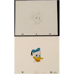 Head Shot Of Donald Duck Orig Animation Cel Drawing Art