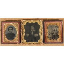 3 Antique Photographs In Cases -Children, Boys, Girl