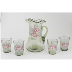 5 Pc Hand Painted Glass Pitcher & Glasses Serving Set
