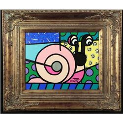 Original Pink Snail Framed Signed Jozza Painting