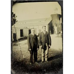 Antique Tintype Photograph 2 Men Outdoor Portrait Rare