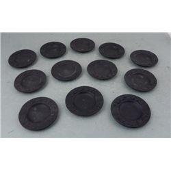 12 Black Wedgewood Jasperware Trays-Plates England